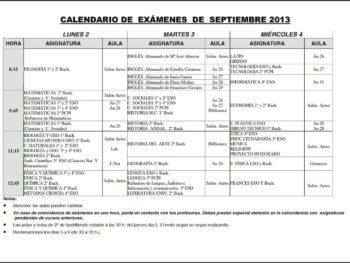 Exámenes de septiembre de 2013